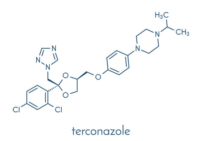 Terconazole antifungal drug molecule. Skeletal formula.